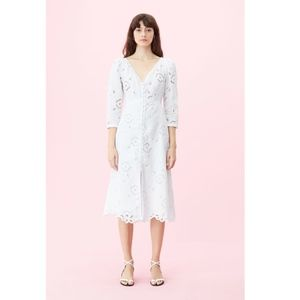 NWT Rebecca Taylor white Terri embroidered dress